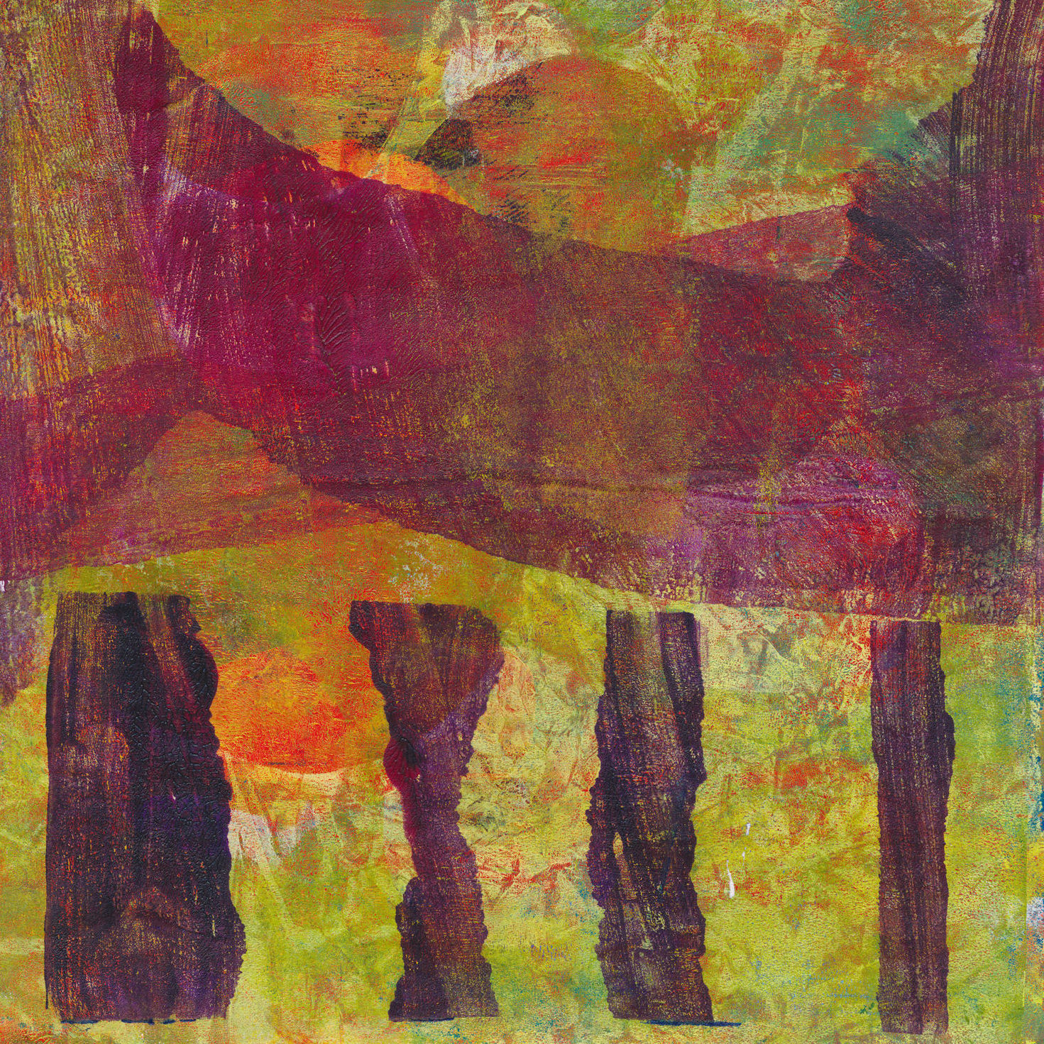 abstract print with standing stones